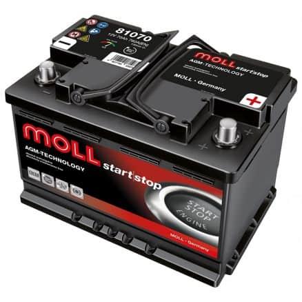 Акумулатор MOLL START/STOP PLUS AGM 70AH 760A R+